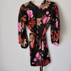 Zara Oriental Inspired floral cocktail dress
